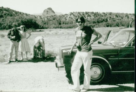 """""""Gregory Corso, Rochelle Kraut-Rosenthal, Peter Orlovsky (holding infant Aliah Rosenthal) - and Bob Rosenthal - New Mexico, Summer 1980. Bob became Allen [Ginsberg]'s secretary in 1977, and continued in that post until Allen's death in 1997. c. The Allen Ginsberg Estate"""""""