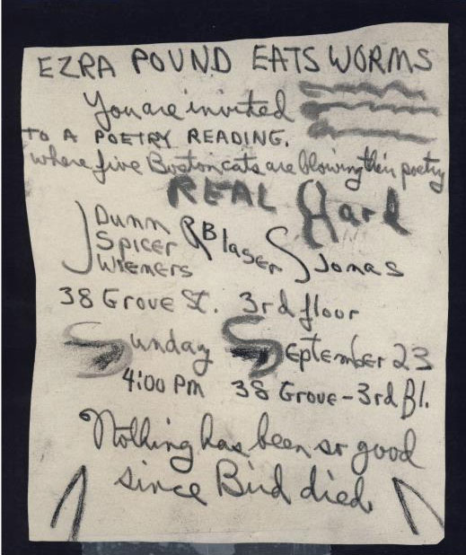 Jack Spicer's postcard, mid-1950s, announcing a reading of 5 Boston poets: Jack Spicer, Stephen Jonas, John Wieners, Joe Dunn and Robin Blaser